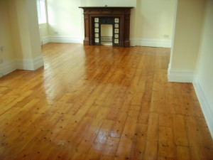 Pine flooring after finishing