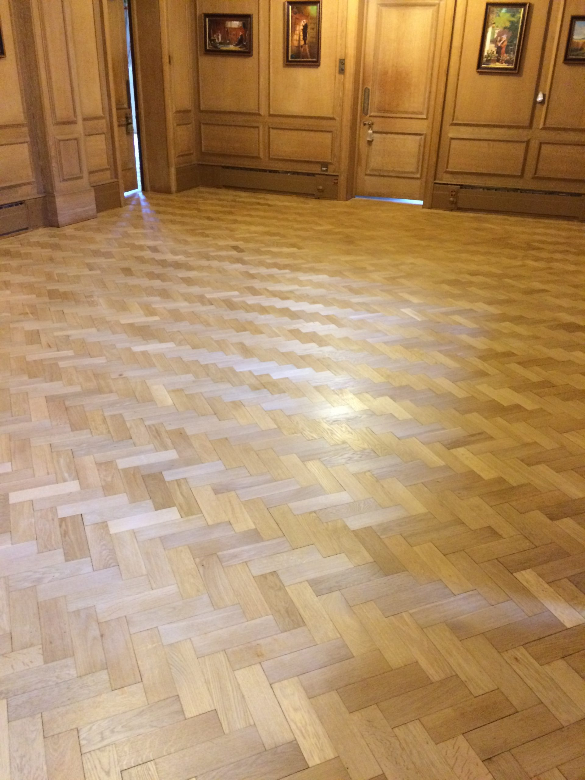 antique oak flooring after sanding and staining